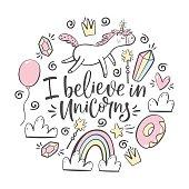 i believe in unicorns typography and magic design element set