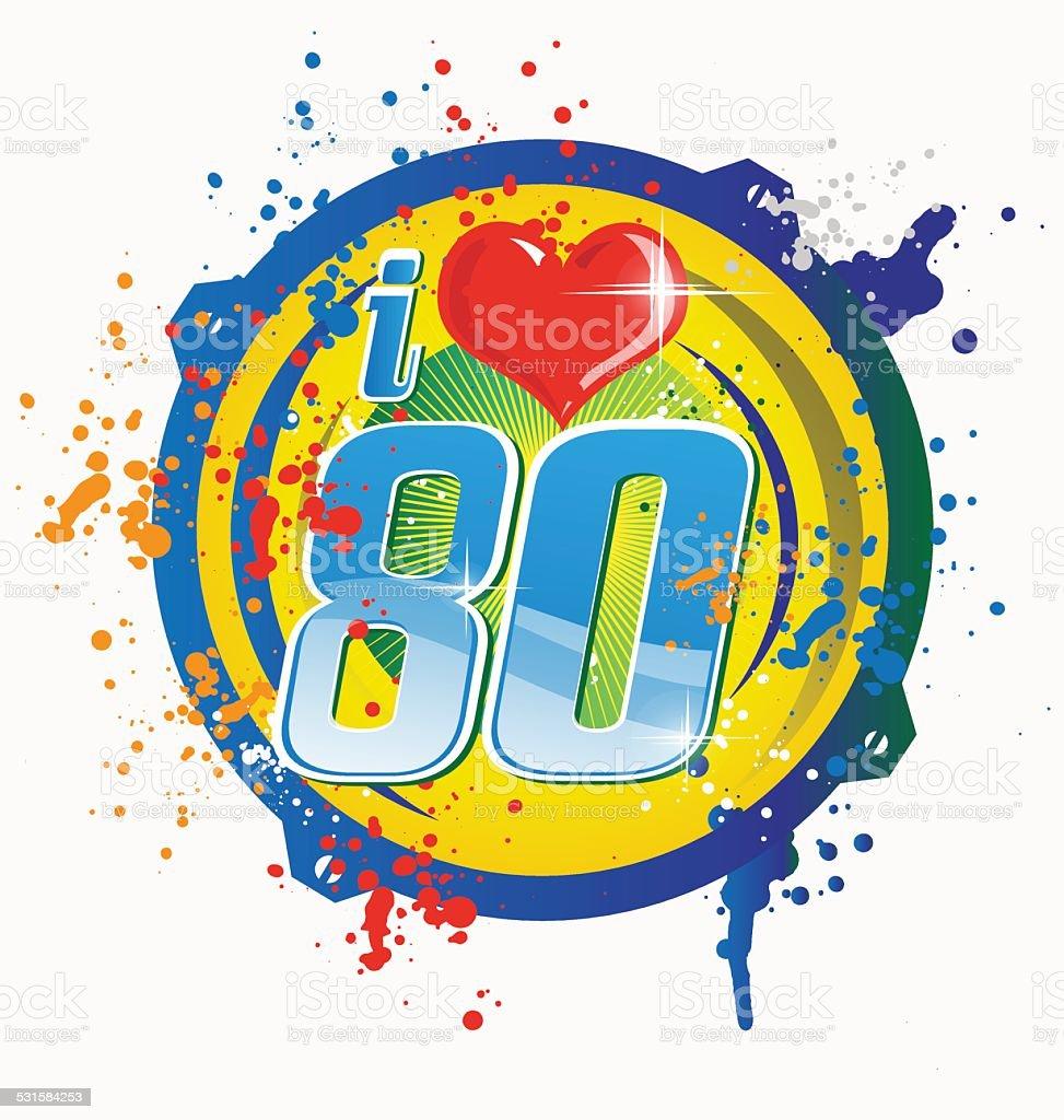i love 80s music symbol isolated on white vector art illustration