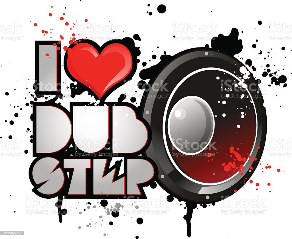 i love dub step music vector art illustration