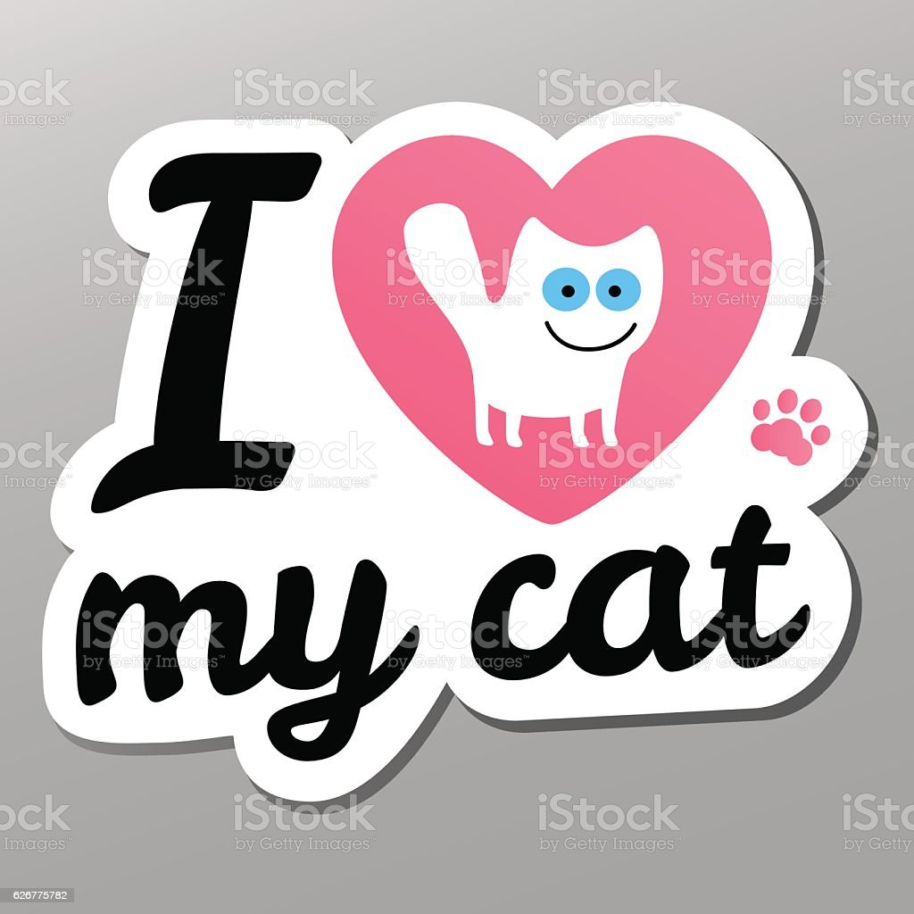 i love may cat vector art illustration
