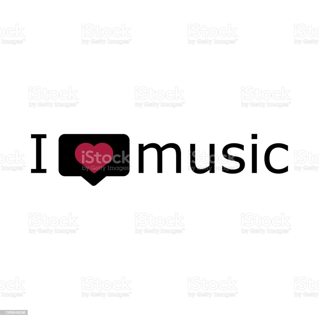 I Love Music Font Type With Signs Stickers And Tags Vector
