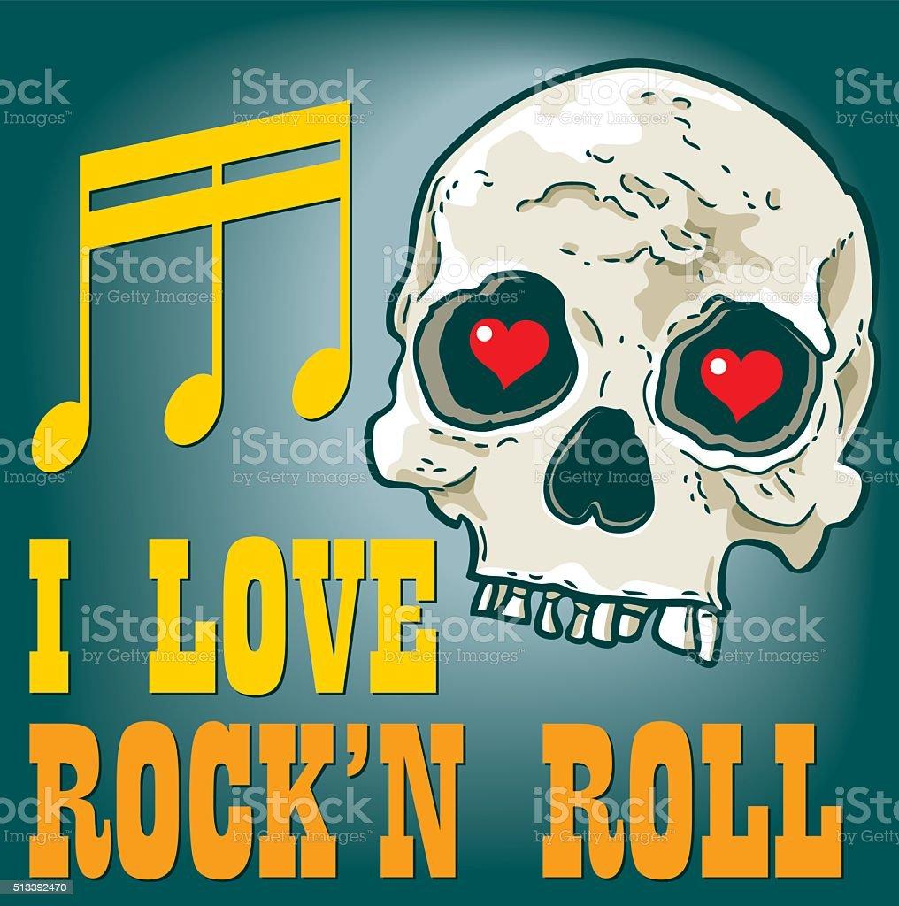 i love rock'n roll vector art illustration