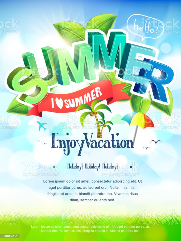 i love summer poster vector art illustration
