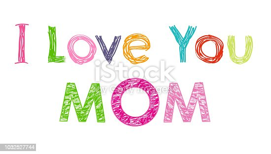Happy Valentines Day card with hanging Love Valentines hearts  and i love you mom. Happy Mother's Day greeting card  vector