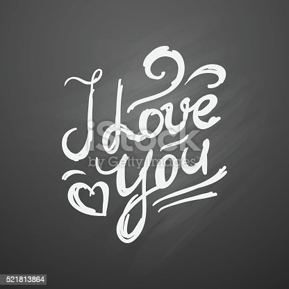 i love you, vector handwritten text on black chalkboard