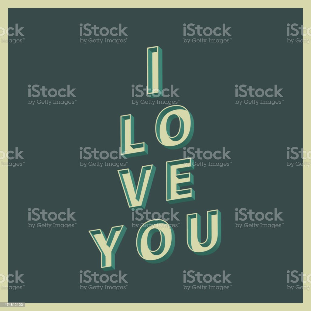 i love you, vintage style royalty-free stock vector art