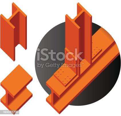 Steel i-beam parts (vector).