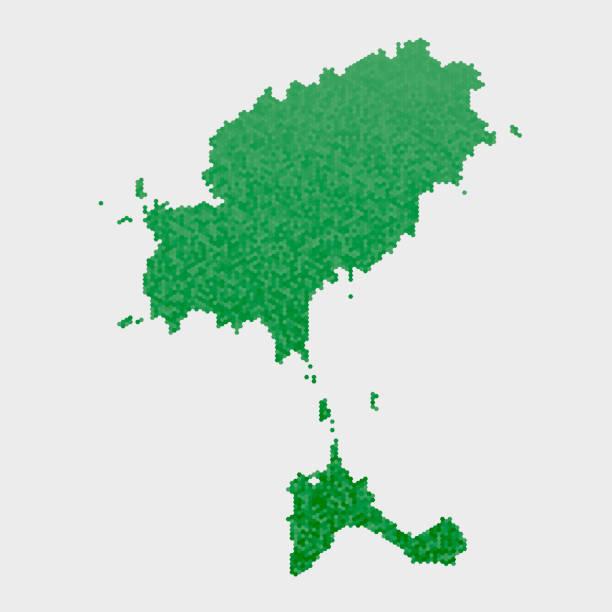 ilustrações de stock, clip art, desenhos animados e ícones de ibiza country map green hexagon pattern - ibiza