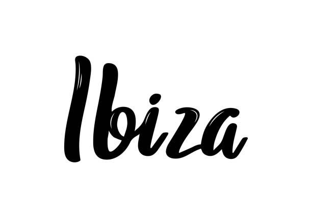 ilustrações de stock, clip art, desenhos animados e ícones de ibiza hand-lettering calligraphy. hand drawn brush calligraphy. city lettering design. vector illustration. - ibiza