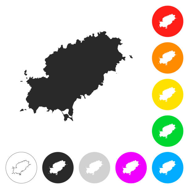 ilustrações de stock, clip art, desenhos animados e ícones de ibiza map - flat icons on different color buttons - ibiza