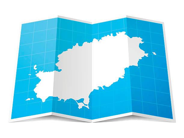ilustrações de stock, clip art, desenhos animados e ícones de ibiza mapa dobrado, isolado no fundo branco - ibiza