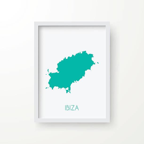 ilustrações de stock, clip art, desenhos animados e ícones de ibiza mapa na moldura no fundo branco - ibiza