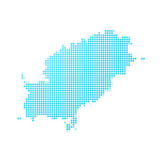 ilustrações de stock, clip art, desenhos animados e ícones de ibiza map of blue dots on white background - ibiza