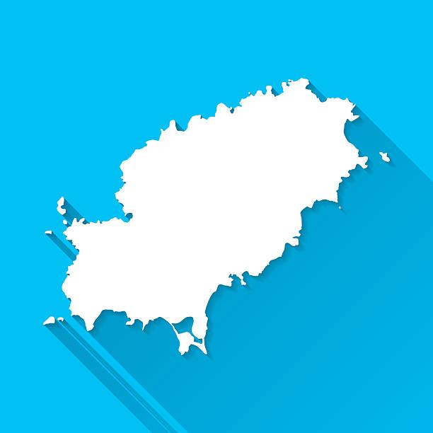 ilustrações de stock, clip art, desenhos animados e ícones de ibiza mapa sobre fundo azul, longa sombra, plana design - ibiza