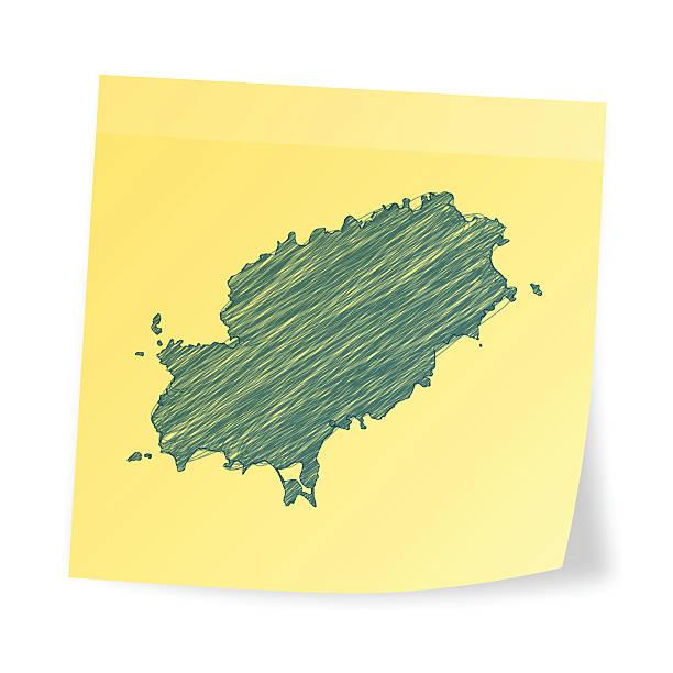 ilustrações de stock, clip art, desenhos animados e ícones de ibiza mapa na nota autocolante com efeito de rabisco - ibiza
