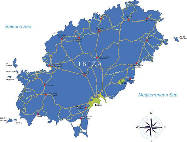 ilustrações de stock, clip art, desenhos animados e ícones de mapa de ibiza - ibiza