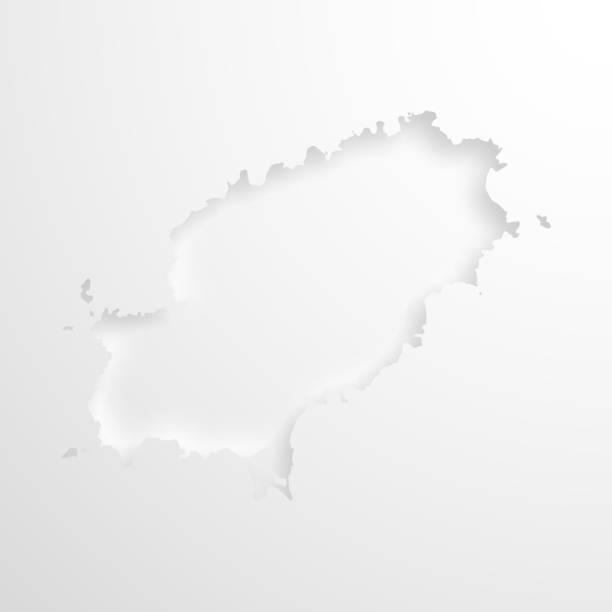 ilustrações de stock, clip art, desenhos animados e ícones de ibiza map with embossed paper effect on blank background - ibiza