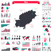 Map of Ibiza with a big set of infographic elements. This large selection of modern elements includes charts, pie charts, diagrams, demographic graph, people graph, datas, time lines, flowcharts, icons... (Colors used: red, green, turquoise blue, black). Vector Illustration (EPS10, well layered and grouped). Easy to edit, manipulate, resize or colorize. Please do not hesitate to contact me if you have any questions, or need to customise the illustration. http://www.istockphoto.com/portfolio/bgblue