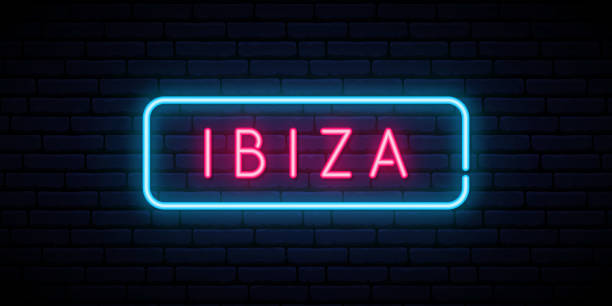 ilustrações de stock, clip art, desenhos animados e ícones de ibiza neon sign. bright light signboard. vector banner. - ibiza