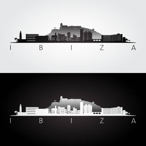 ilustrações de stock, clip art, desenhos animados e ícones de ibiza skyline and landmarks silhouette, black and white design, vector illustration. - ibiza