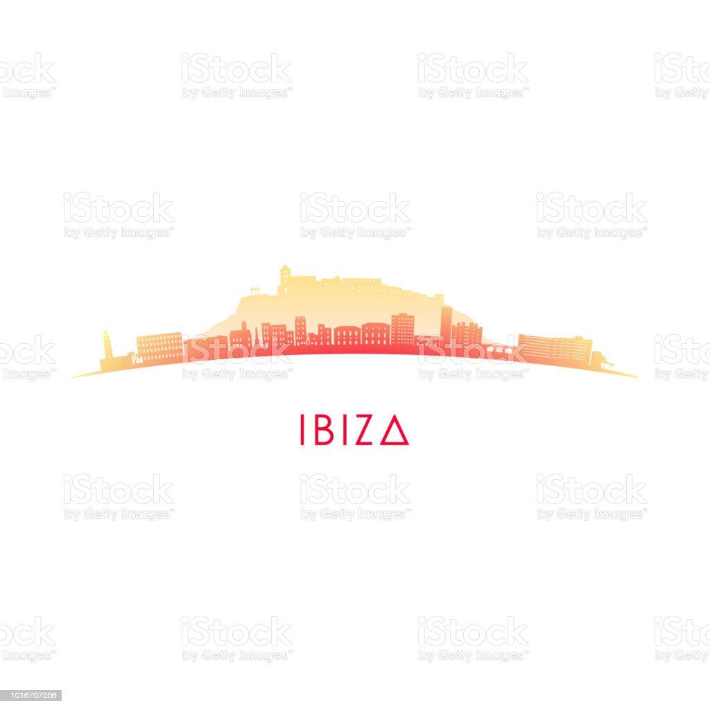 Ibiza skyline silhouette. Vector design colorful illustration. royalty-free ibiza skyline silhouette vector design colorful illustration stock illustration - download image now