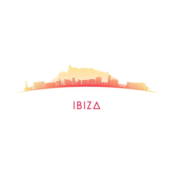 ilustrações de stock, clip art, desenhos animados e ícones de ibiza skyline silhouette. vector design colorful illustration. - ibiza