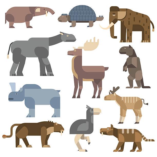 eiszeit tiere vektor-illustration - eiszeit stock-grafiken, -clipart, -cartoons und -symbole