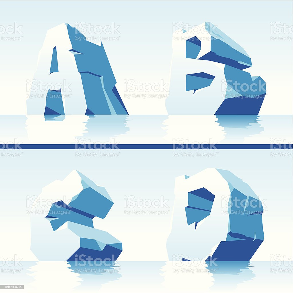 Ice alphabet. Part 1 royalty-free stock vector art