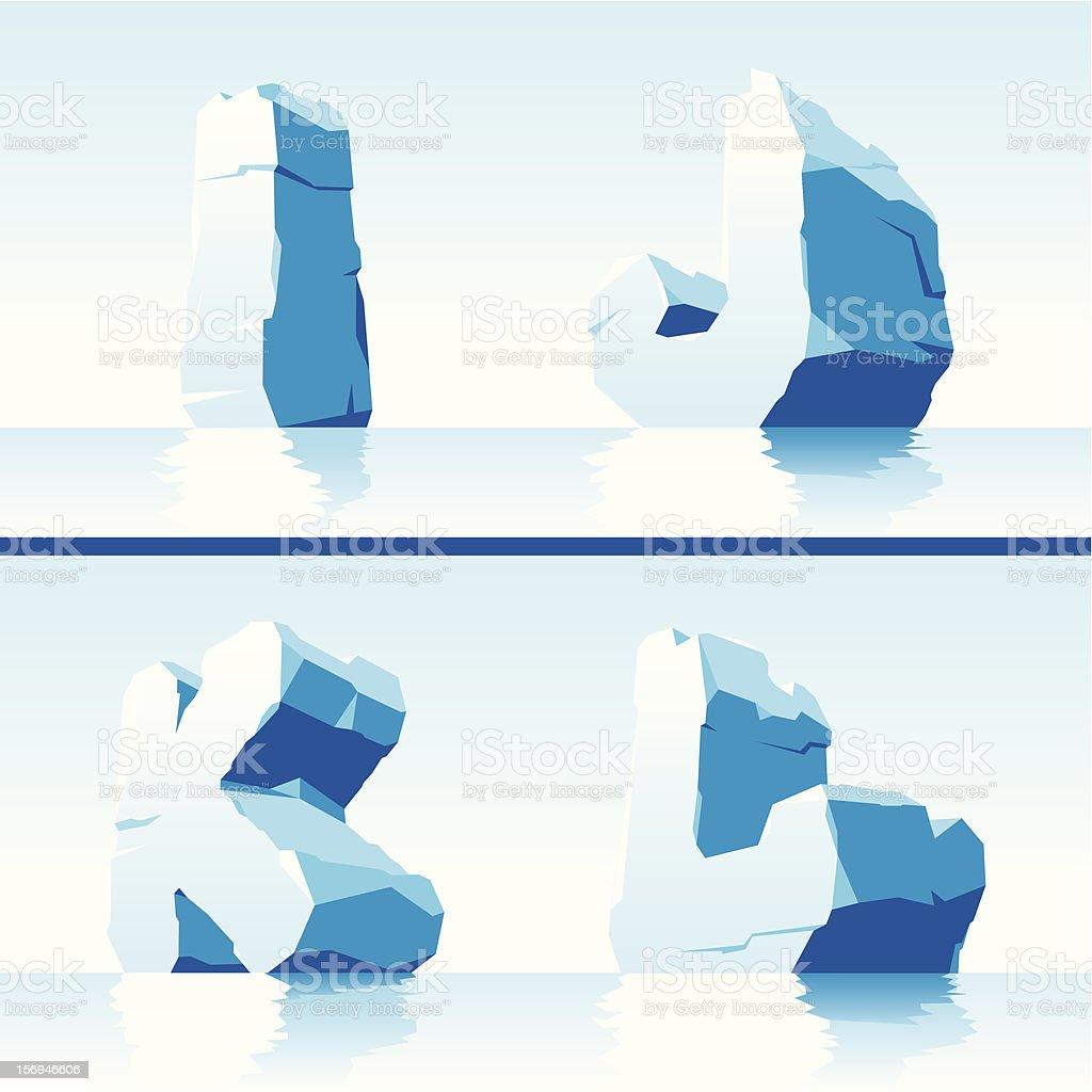Ice alphabet. Part 3 vector art illustration
