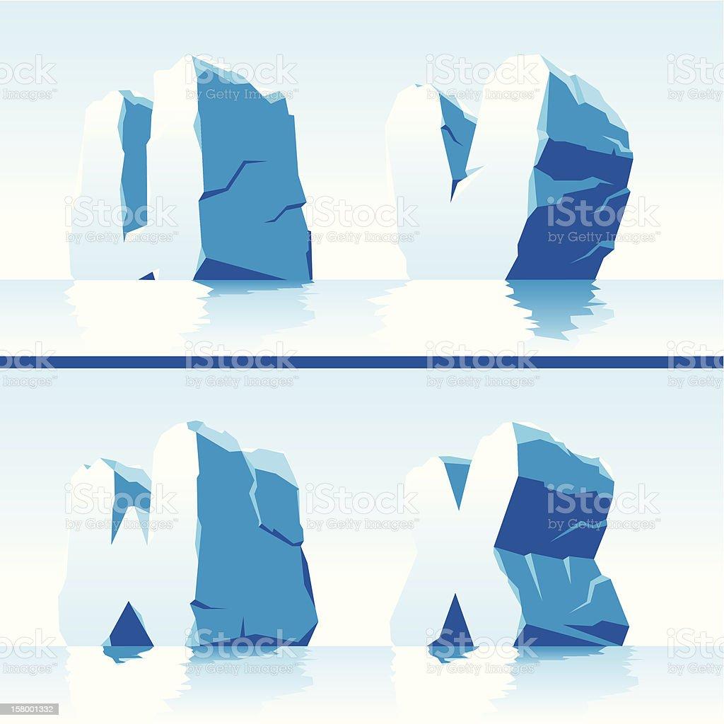 Ice alphabet. Part 6 royalty-free stock vector art