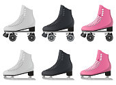 Beautiful vector design illustration of ice and roller skates set isolated on white background