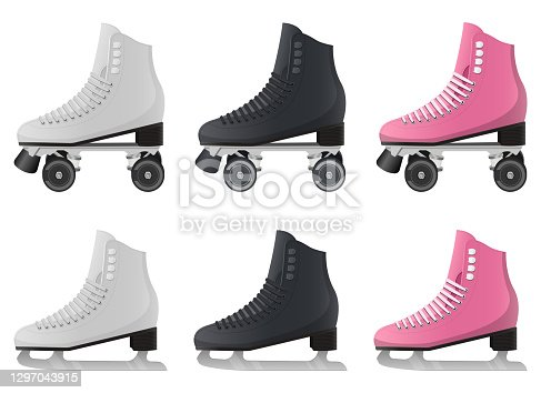 istock Ice and roller skates vector design illustration isolated on white background 1297043915