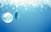 Ice blue holiday background with ornaments and copy space. EPS 10 file. Transparency used on highlight elements.