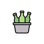 Ice box, Beers icon. Simple color with outline vector elements of international beer day icons for ui and ux, website or mobile application on white background