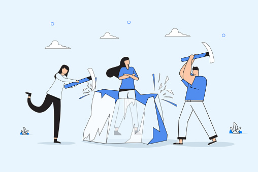 Ice breaking or icebreaker activity, game and event. Vector artwork of a group of people using sledgehammer to break it