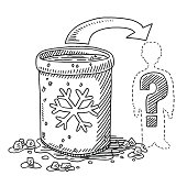 Hand-drawn vector drawing of an Ice Bucket Challenge Diagram with a Silhouette of a person and a Question Mark. Black-and-White sketch on a transparent background (.eps-file). Included files are EPS (v10) and Hi-Res JPG.