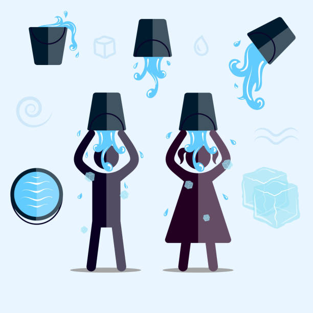 ALS Ice Bucket Challenge vector art illustration