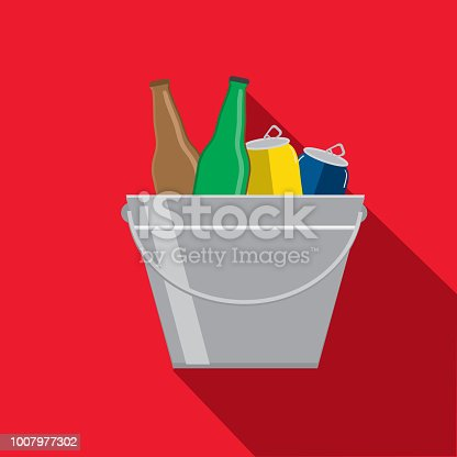 Vector illustration of ice bucket with beer bottles and cans. Flat Design BBQ or barbecue themed Icon with shadow. Vector eps 10, fully editable.