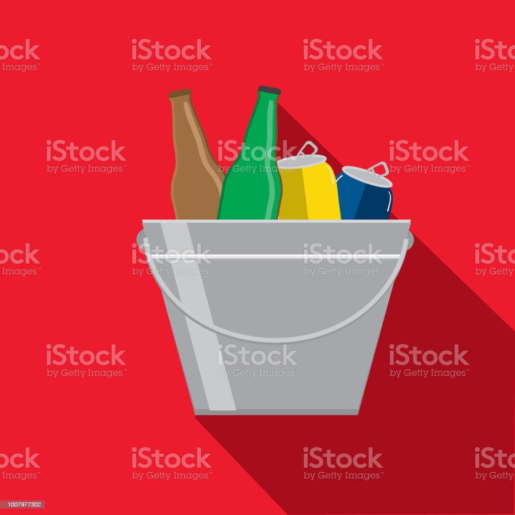 Ice bucket Flat Design BBQ or barbecue  themed Icon with shadow vector art illustration
