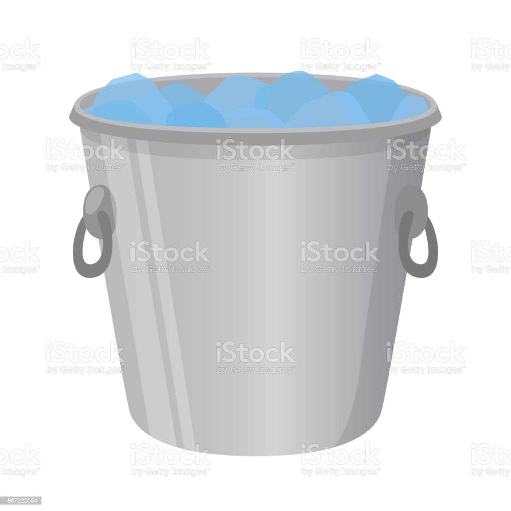 Ice bucket for alcohol, cooler. Cartoon flat style. Vector illustration vector art illustration
