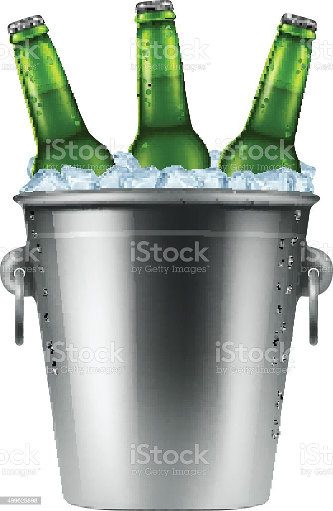 Ice bucket with three bottles of beer. vector art illustration