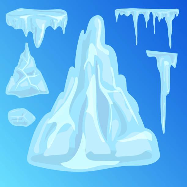 Eiskappen Schneeverwehungen Eiszapfen Elemente arktischen Schnee kaltes Wasser Winter Dekor Vektor-illustration – Vektorgrafik
