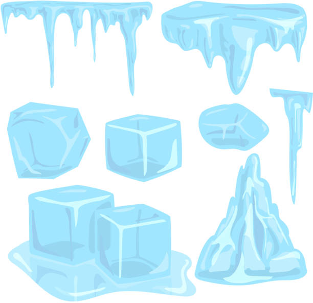 Ice caps snowdrifts icicles elements arctic snowy cold water winter decor vector illustration Set of ice caps seasonal style sharp frozen icon. Snowdrifts icicles and elements winter decor vector illustration. Transparent arctic snowy cold water decoration. ice stock illustrations