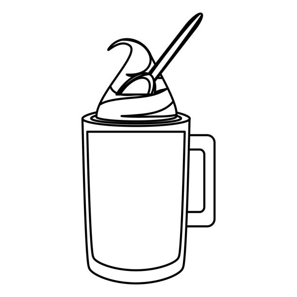Ice Coffee And Spoon Vector Illustratio Art Illustration