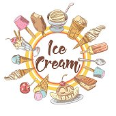Ice Cream and Cold Desserts Hand Drawn Background with Fruits and Chocolate. Cones and Waffles. Vector illustration
