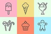 Ice cream and cookies line icon
