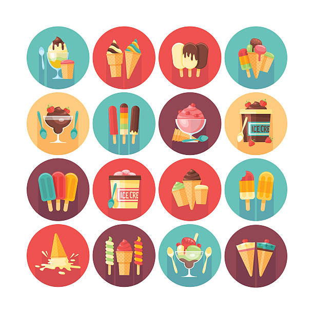 Ice cream and frozen desserts icon collection. Ice cream and frozen desserts icon collection. Flat vector circle icons set with long shadow. Food and drinks. bowl of ice cream stock illustrations