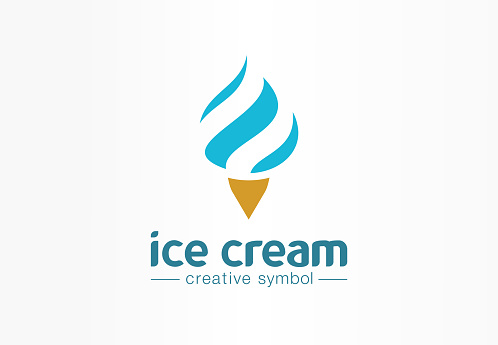 Ice cream ball creative symbol concept. Waffle cone, whipped dessert, cold food cafe abstract business pictogram. Tasty soft mousse, cool yogurt icon