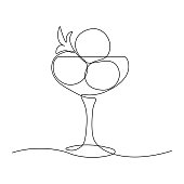 Cocktail glass with ice cream balls in continuous line art drawing style. Black line sketch on white background. Vector illustration