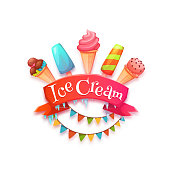 Ice cream banner with red ribbon. Vector illustration